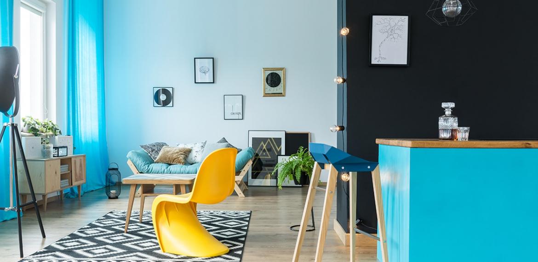huiskamer ideeen met blauwe tinten