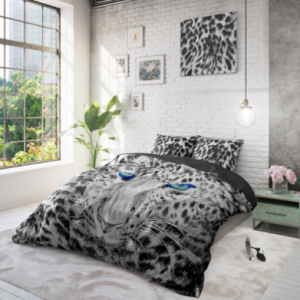 dreamhouse cheetah dekbedovertrek zwart/wit