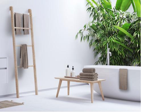 badkamer inspiratie met planten en bruin tinten