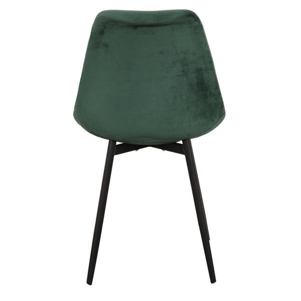 groene stoffen stoel met ijzeren poten achterkant