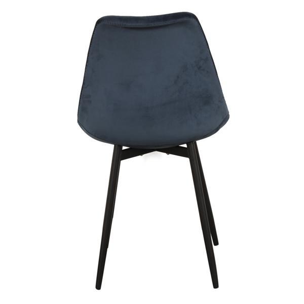 zwarte stoffen stoel met ijzeren poten achterkant