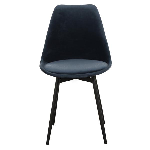 zwarte stoffe stoel met ijzeren poten voorkant