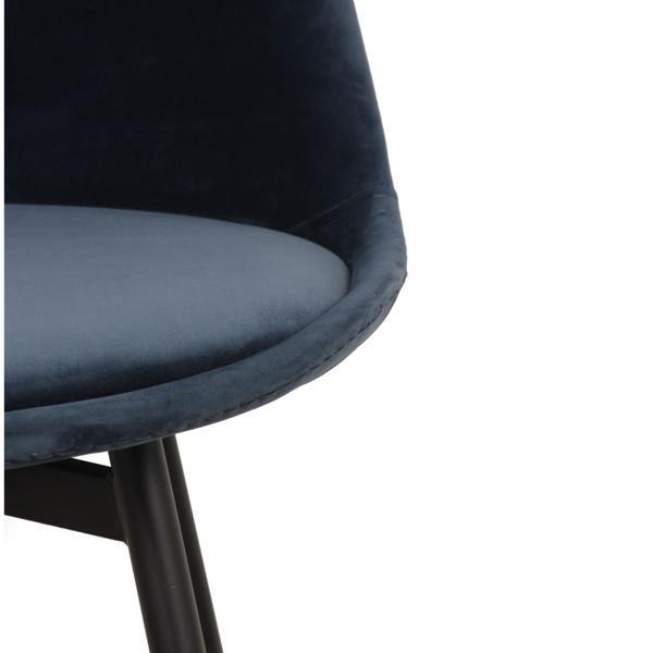 zwarte stoffe stoel met ijzeren poten zijkant