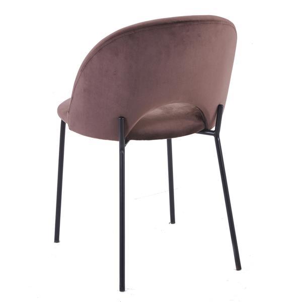 cave stoel bruin met zwarte poten achterkant