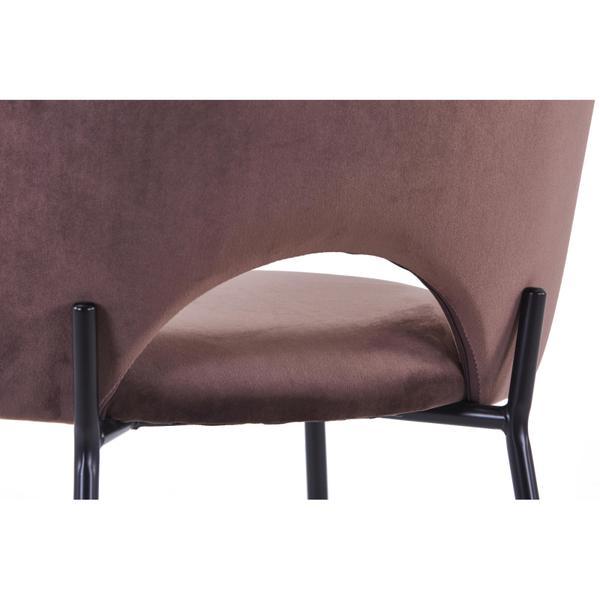 cave stoel bruin met zwarte poten achterkant opening