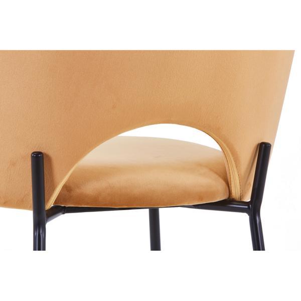 cave stoel geel met zwarte poten opening