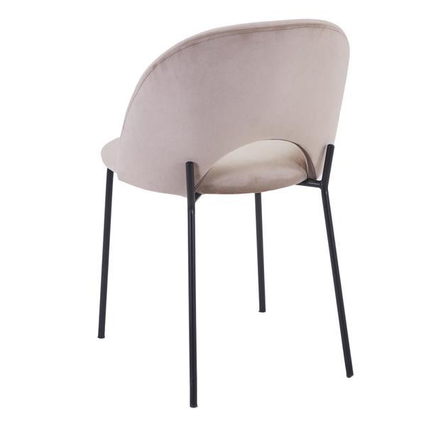 cave stoel beige/taupe met zwarte poten achterkant