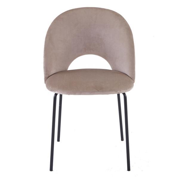 cave stoel beige/taupe met zwarte poten