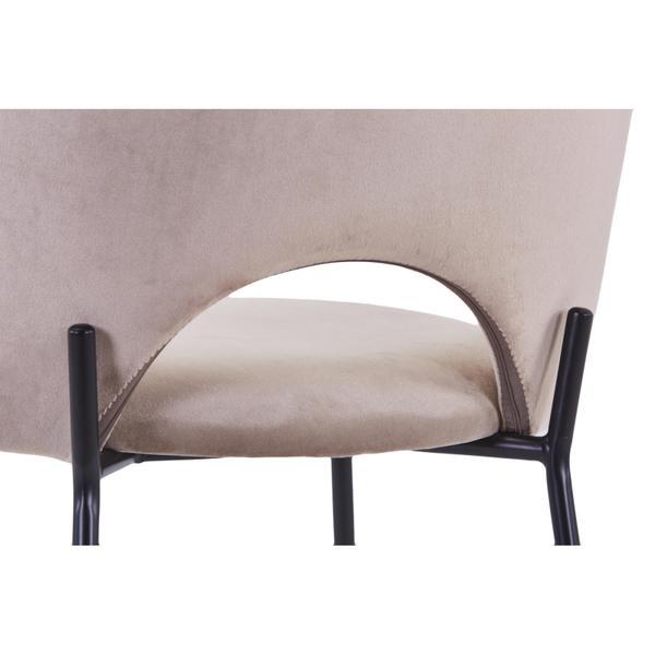cave stoel beige/taupe met zwarte poten opening