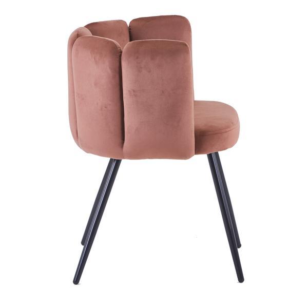 high five stoel koper met ijzeren poten zijkant