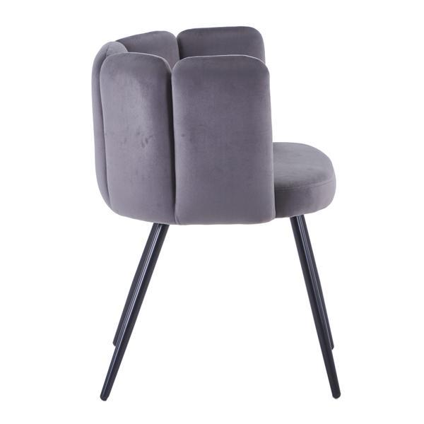 high five stoel grijs met ijzeren poten zijkant