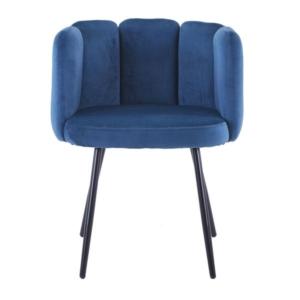 high five stoel blauw met ijzeren poten