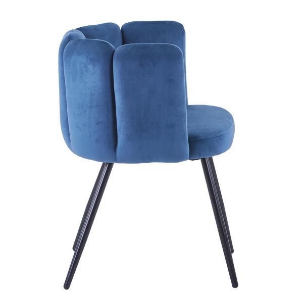 high five stoel blauw met ijzeren poten zijkant