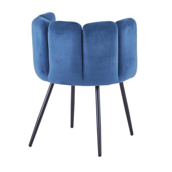high five stoel blauw met ijzeren poten achterkant